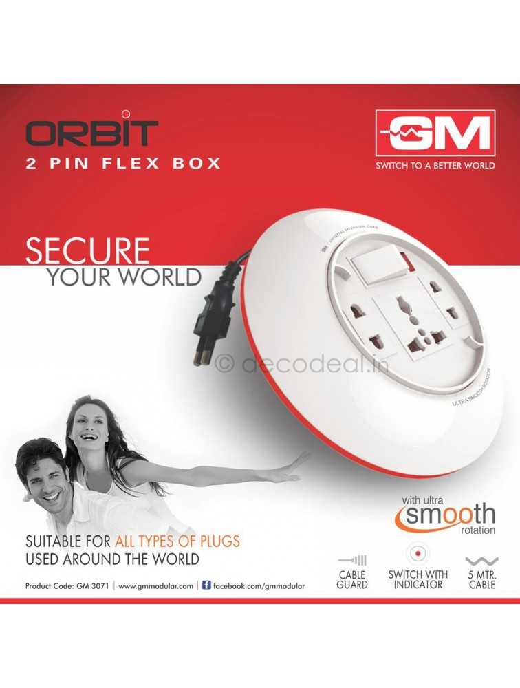 Orbit 2 Pin Flex Box 5 Mtr. With Indicator & International Socket, GM MODULAR