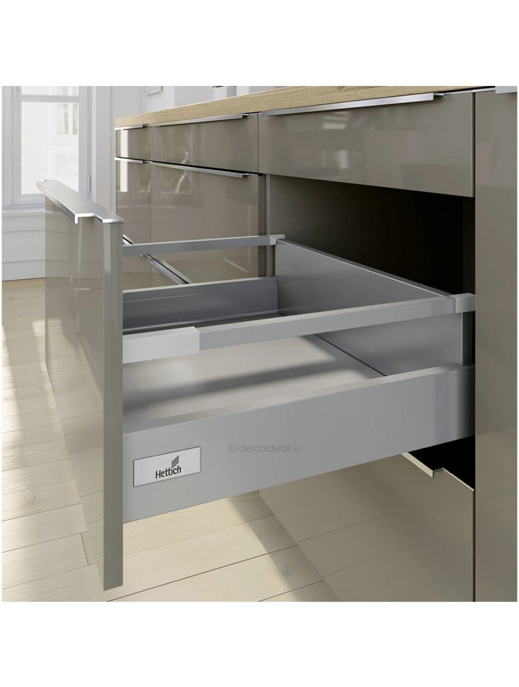 ARCITECH SILVER POT & PAN WITH RAILING, HEIGHT 186 MM, DRAWER SYSTEM ARCITECH, HETTICH