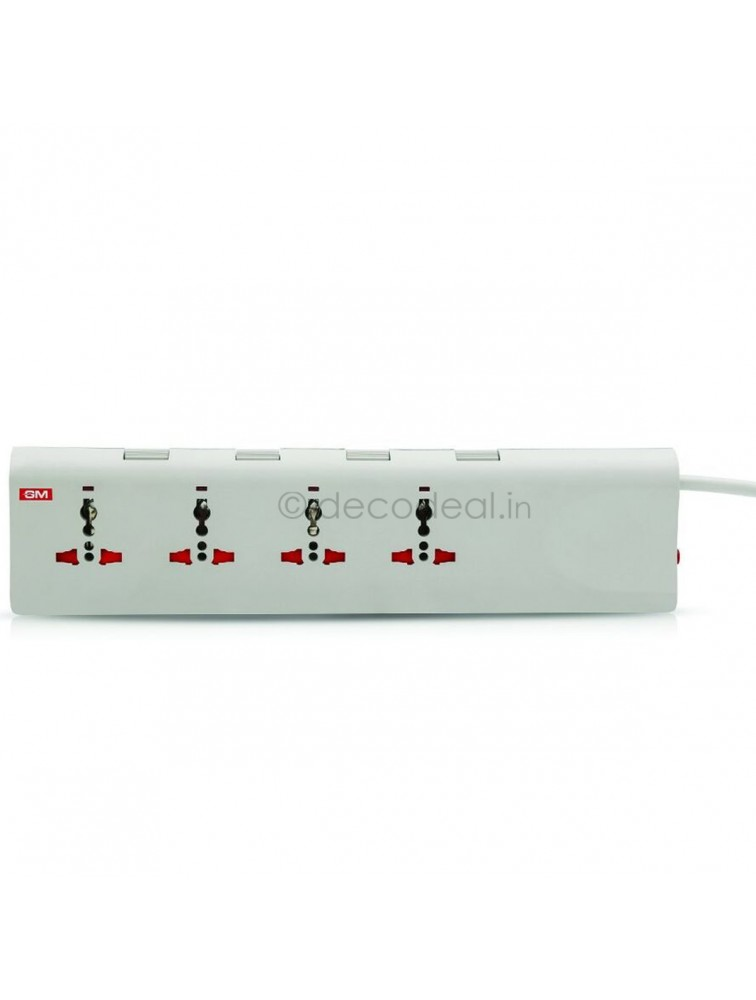 E-Book 4+4 Spike Adaptor With Individual Switch, Indicator, Safety Shutter, International Sockets & Surge Protector, GM MODULAR