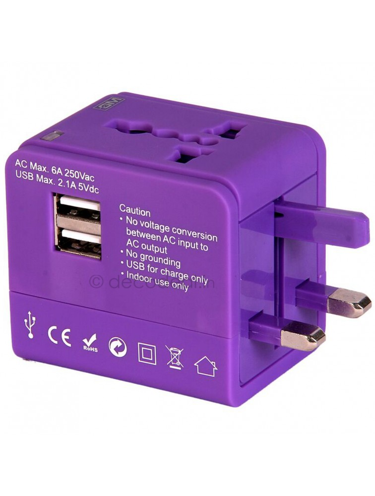 Atlas Universal Travel Adaptor with 2.1A USB charger, GM MODULAR