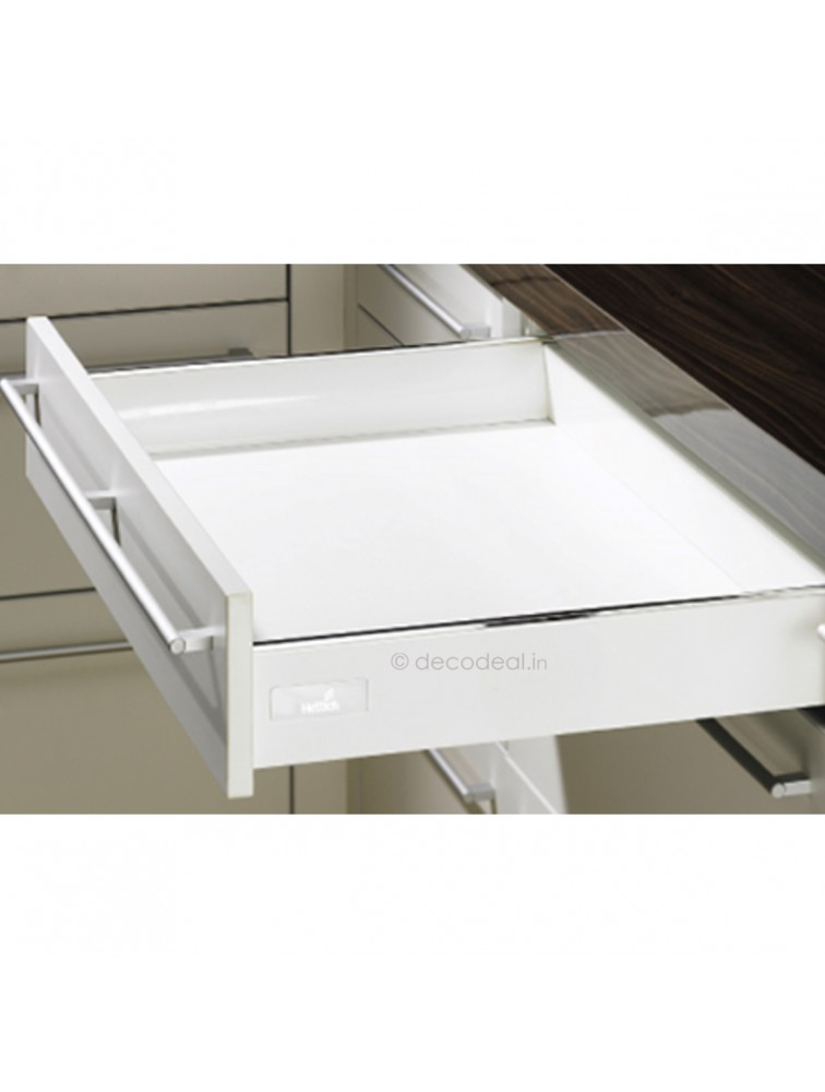 INNOTECH WHITE FULL EXTN, SILENT, DRAWER SYSTEM INNOTECH - DRAWER, HEIGHT 70 / 144 MM, WHITE FINISH, HETTICH