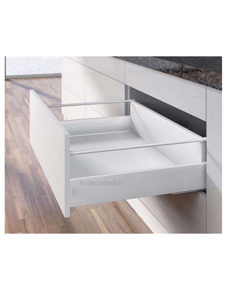 INNOTECH FULL EXTN. SILENT, DRAWER SYSTEM INNOTECH - POT & PAN DRAWER WITH RAILING, HEIGHT 144 MM, SILVER FINISH