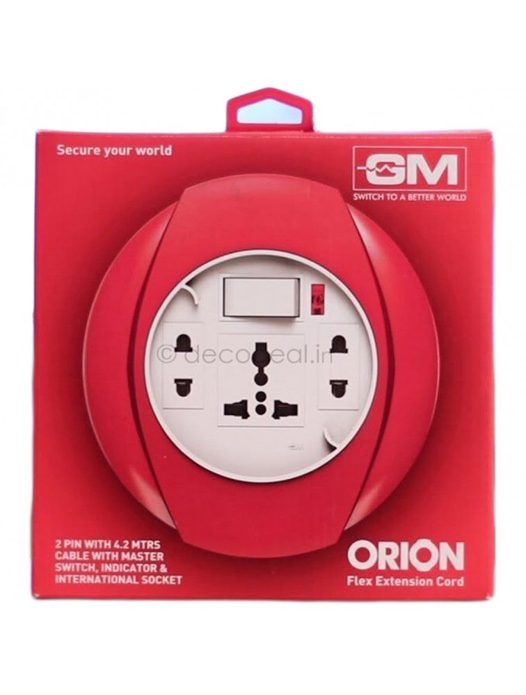 Orion 2 Pin Flex Box Cord 4.2 Mtr With Indicator & International Socket, GM MODULAR
