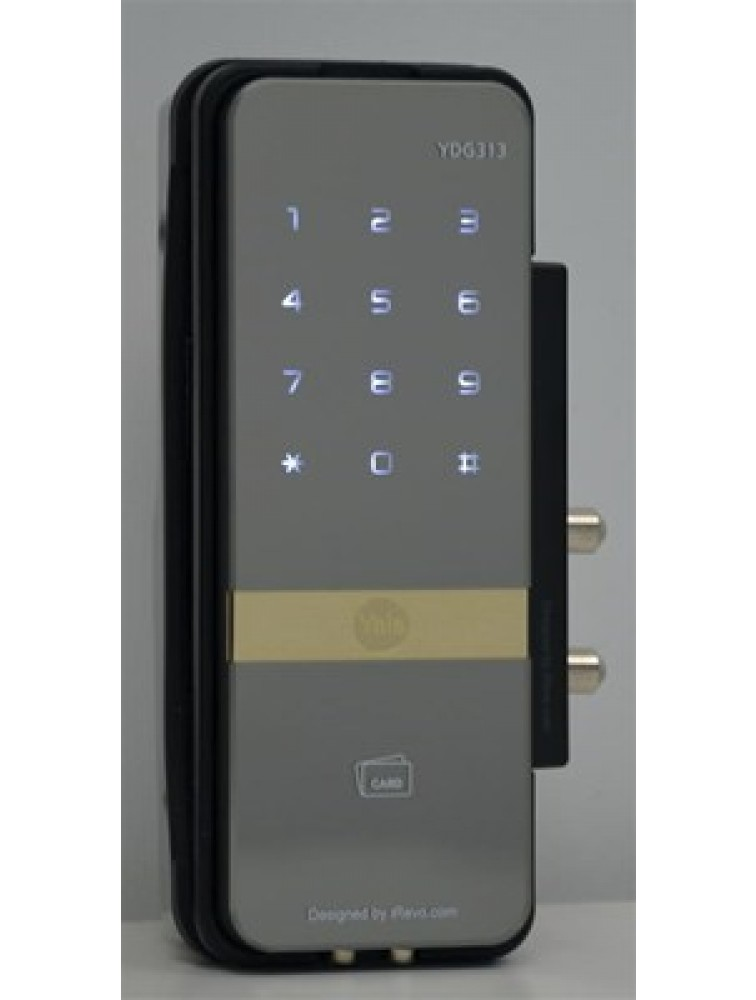 YDG313 (Rim Lock for Glass Doors) - PIN Code, RF Card Key & Remote Control (Optional), yale digital door lock, yale